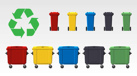 Different colors recycle bins isolated on white background. Flat style. Vector
