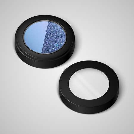 Open pallets with eye shadows and and cover. The pearlescent blue eye shadows. Vector illustration Vektoros illusztráció