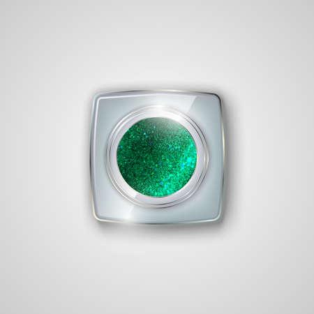 Glitter eyeshadow in a glass jar. Diamond powder. Shining eyeshadow. Vector illustration.