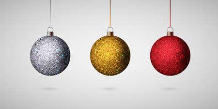 Shiny christmas ball. Realistic Christmas tree balls set. Vector Zdjęcie Seryjne - 127646605