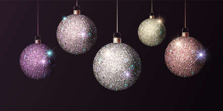 Shiny christmas ball. Set of Realistic Christmas tree ball. Vector