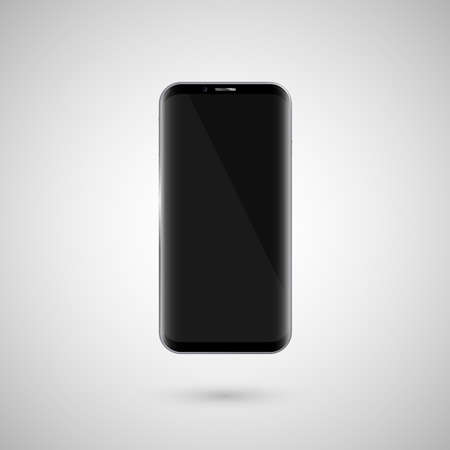Black touchscreen smartphone. Black screen. Isolated on a white background. Vector illustration Ilustração