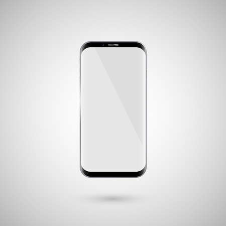 Black touchscreen smartphone. White screen. Isolated on a white background. Vector illustration