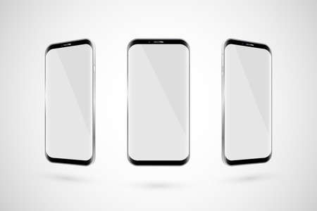 Black touchscreen smartphone. White screen. Isolated on a white background. Vector illustration Zdjęcie Seryjne - 127364847