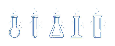 A chemical flask. Icons set. Equipment for chemical laboratory. Line design. Vector illustration. Zdjęcie Seryjne - 126259791
