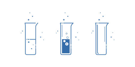 A beaker flask. Icons set. Equipment for chemical laboratory. Line design. Vector illustration. Ilustracja