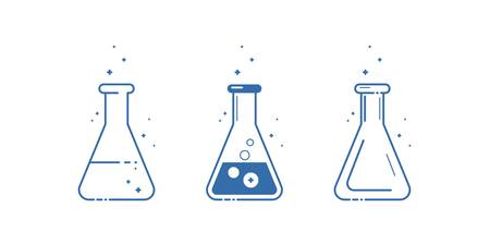 A conical flask. Icons set. Equipment for chemical laboratory. Line design. Vector illustration. Ilustracja