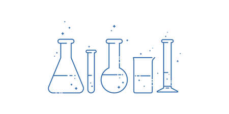 A chemical flask. Icons set. Equipment for chemical laboratory. Line design. Vector illustration. Ilustracja