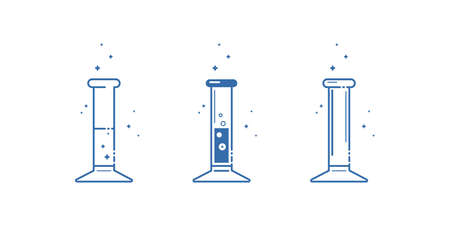 A measuring cylinder. Icons set. Equipment for chemical laboratory. Line design. Vector illustration. Ilustracja