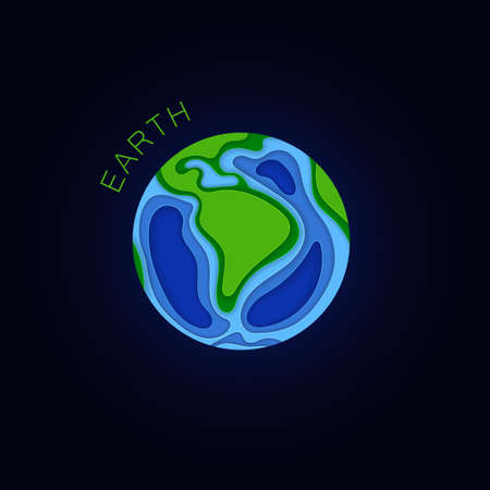 Earth. Planet in paper cut style. Vector illustration Zdjęcie Seryjne - 125304876