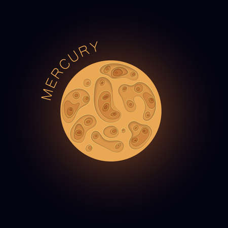 Mercury. Planet in paper cut style. Vector Vettoriali