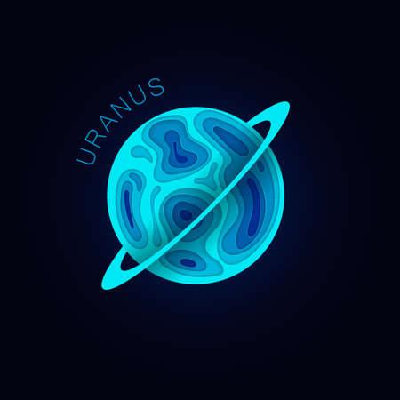 Uranus. Planet in paper cut style. Vector illustration Ilustracja