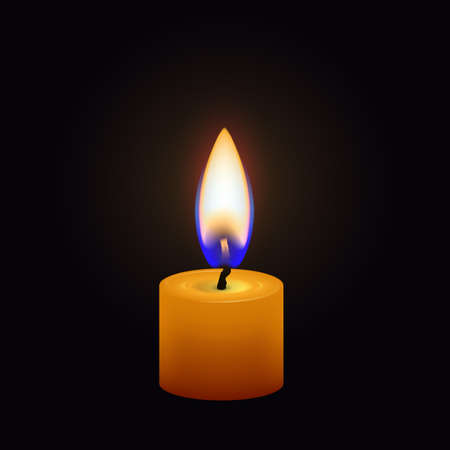Candle flame close up isolated on a dark background. Realistic vector illustration Ilustração
