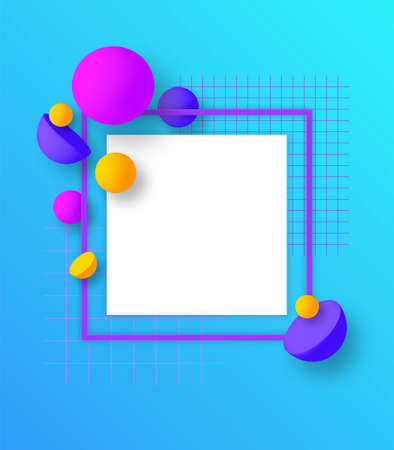 Colorful square frame with geometric 3D elements. Trendy design. Vector illustration