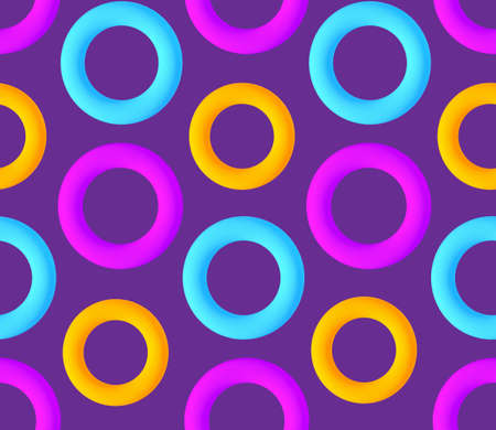 Colorful seamless pattern with 3D torus. Trendy design. Vector Vectores