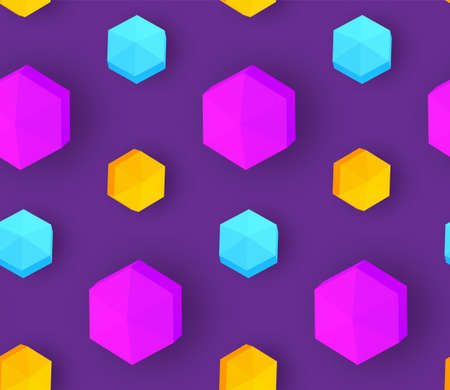 Colorful seamless pattern with 3D polyhedron. Trendy design. Vector Ilustracja