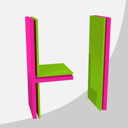 Colorful big 3D letter. Trendy vector illustration. Zdjęcie Seryjne - 125576037