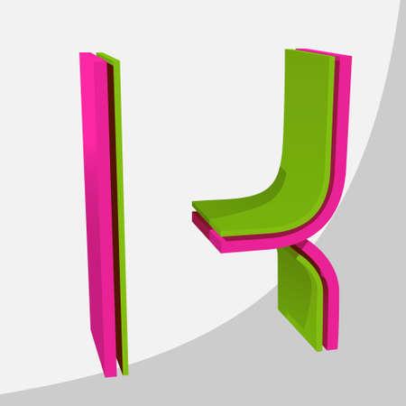Colorful big 3D letter. Trendy vector illustration. Zdjęcie Seryjne - 125576052