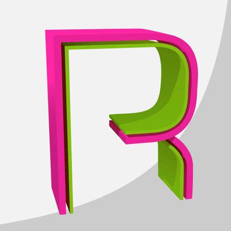 Colorful big 3D letter. Trendy vector illustration. Zdjęcie Seryjne - 125576074