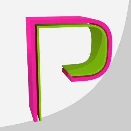 Colorful big 3D letter. Trendy vector illustration. Zdjęcie Seryjne - 125576081