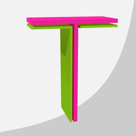 Colorful big 3D letter. Trendy vector illustration. Zdjęcie Seryjne - 125576084