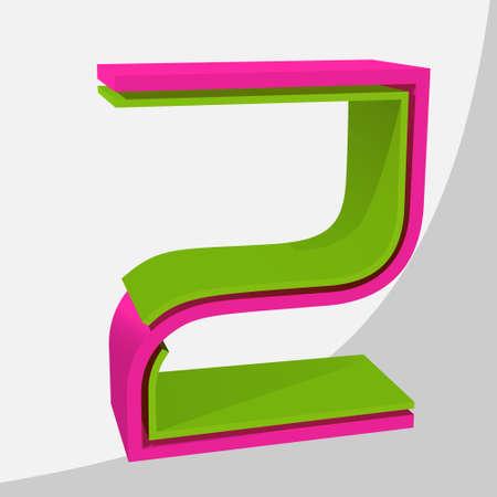 Colorful big 3D letter. Trendy vector illustration. Ilustracja