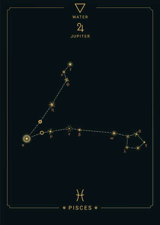 Zodiac constellation Pisces. Symbol of the planet Jupiter, the element of water. 矢量图像