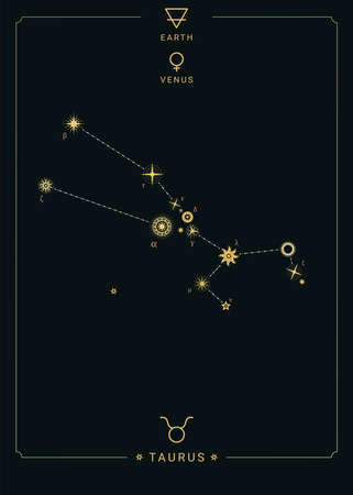 Zodiac constellation Taurus. Symbol of the planet Venus, the element of earth