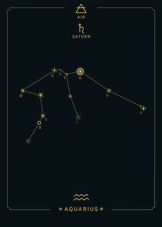 Zodiac constellation Aquarius. Symbol of the planet Saturn, the element of air 免版税图像 - 139671667