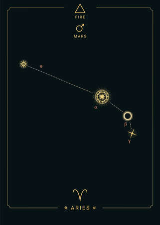 Zodiac constellation Aries. Symbol of the planet Mars, the element of fire 免版税图像 - 139671670