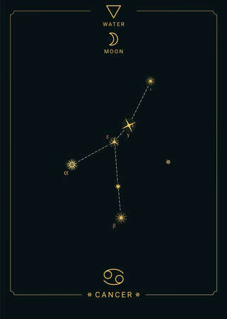 Zodiac constellation Cancer. Symbol of the moon, the element of water 免版税图像 - 139671672