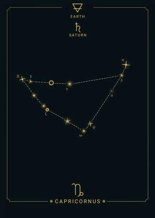 Zodiac constellation Capricornus. Symbol of the planet Saturn, element of earth 矢量图像