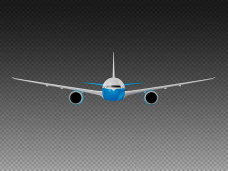 Vector airplane on a transparent background. Front view Illustration