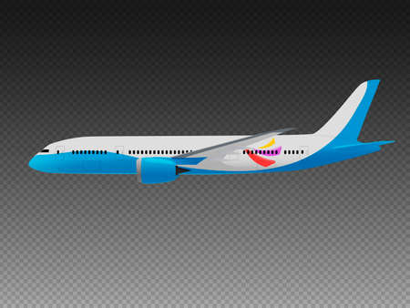 Vector airplane on a transparent background. Side view Illustration