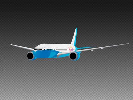 Vector airplane on a transparent background. Three quarter view 免版税图像 - 140127305