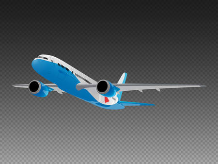 Vector airplane on a transparent background. Take-off front view 免版税图像 - 140454659