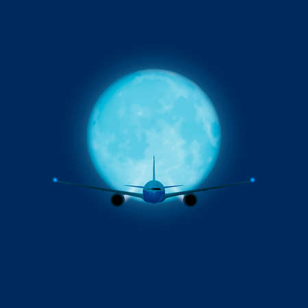 Vector plane on the background of the night sky and moon Illusztráció