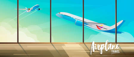 Illustration for travel by airplanes. View from the airport terminal to take off planes. Air travel banner for travel agencies.
