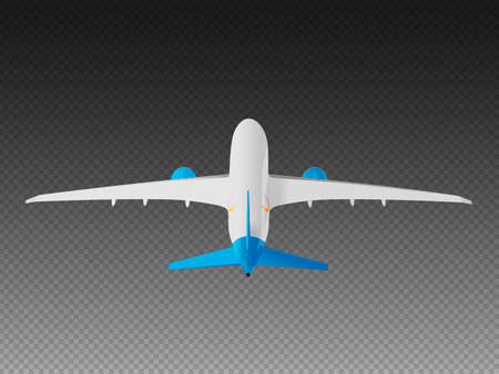 Vector airplane on a transparent background. Take-off back view