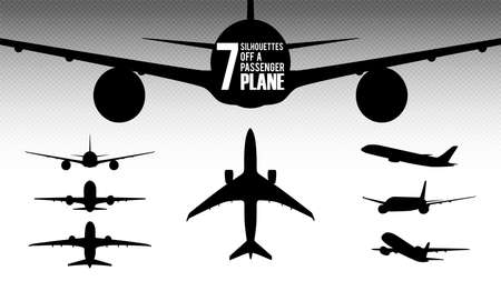 Set of 7 silhouettes of a passenger airliner. The silhouette of the aircraft in front, rear, side, top view.