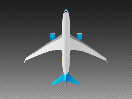 Vector airplane on a transparent background. Top view 矢量图像