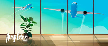 Illustration for travel by airplanes. View from the airport terminal to take off planes. Ficus in the terminal building. Air travel banner for travel agencies. 矢量图像