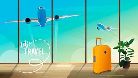 Ilustración para viajes en avión. Vista desde la terminal para despegar aviones