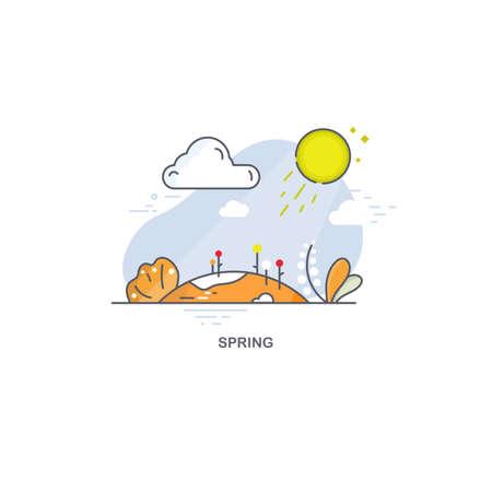 Linear spring landscape. Seasons illustration 免版税图像 - 145577038