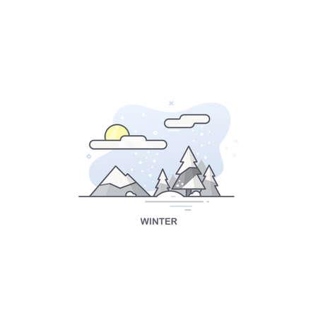 Linear winter landscape. Seasons illustration 免版税图像 - 145750876