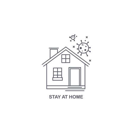 Linear illustration of stay home. Coronavirus. Protect yourself 矢量图像