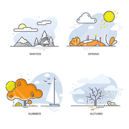 Linear flat illustrations of all seasons. Landscapes on a blue background 免版税图像 - 145750882