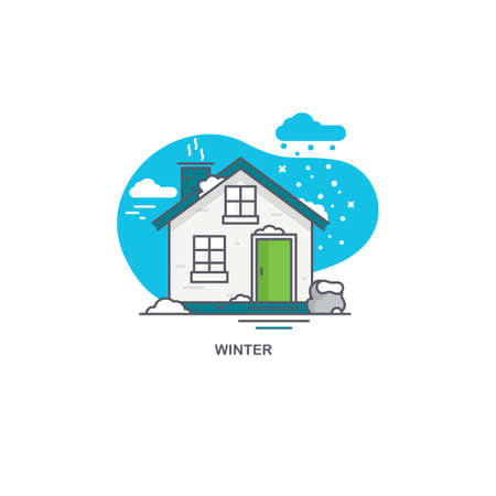 Linear flat illustration of a private house. Winter time concept 矢量图像