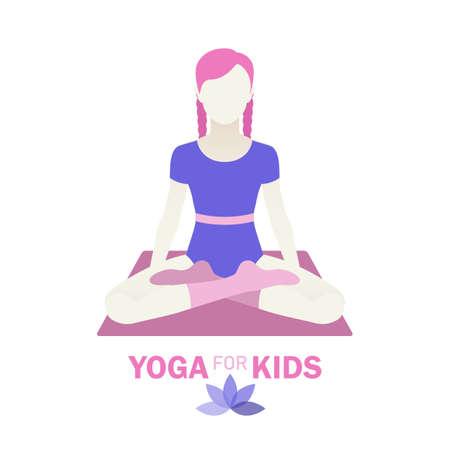 Kids yoga design concept with girl in yoga position. 免版税图像 - 145750893