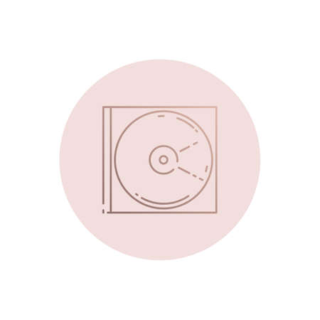 Vector Laser Disk in Box Icon. Compact disc  icon. Linear style 免版税图像 - 145840116